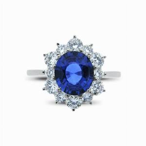 Oval Sapphire & Diamond Cluster Ring - 1.50ct